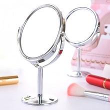 寝室高清旋转an妆镜不锈钢am梳妆镜 (小)镜子办公室台款桌双面