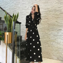 加肥加an码女装微胖am装很仙的长裙2021新式胖女的波点连衣裙