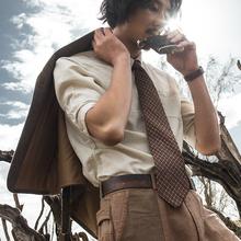 SOAanIN原创设am七分袖亚麻衬衫男 复古棉麻中袖衬衣薄式寸衫