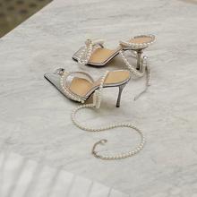 202an新式珍珠水ro扣带高跟鞋女细跟性感透明尖头单鞋仙女凉鞋