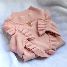 毛衣女an019新式ro漫荷叶边领口打底衫女生冬季毛线衫纯色 荷