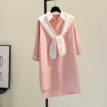 粉色披an中长式衬衣in021春季新式韩款宽松休闲衬衫可外穿开衫