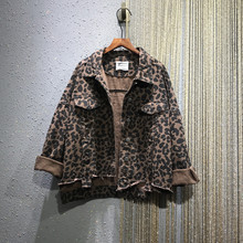 欧洲站an021春季in纹宽松大码BF风翻领长袖牛仔衣短外套夹克女
