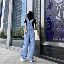202an新式韩款加on裤减龄可爱夏季宽松阔腿牛仔背带裤女四季式