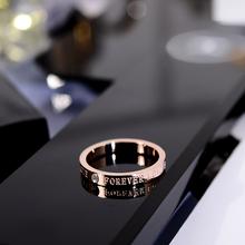 韩京韩an简约时尚带mo字母食指环钛钢戒指潮的(小)指装饰品