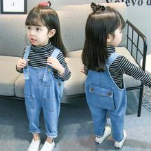 女童背an裤宝宝牛仔es020韩款女童春装连体裤女宝宝春秋洋气潮