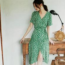 BELanYWEARes季印花裹身长裙短袖交叉V领时尚外出哺乳连衣裙