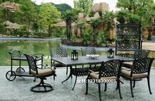 铸铝家an 户外家具ie桌椅 大台 一台十二椅 欧美简约花园
