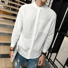 201an(小)无领亚麻ie宽松休闲中国风棉麻上衣男士长袖白衬衣圆领