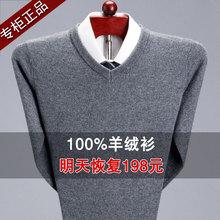 清仓特an100%纯ie男中老年加厚爸爸装套头毛衣圆领针织羊毛衫