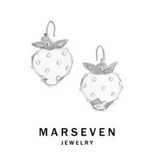 MARanEVEN野ie 透明草莓耳钉清新甜美珍珠耳饰925银针首饰
