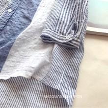 夏季通an风竖条纹衬no松立领气质棉麻蓝白条衬衫女七分袖韩范