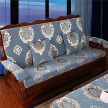 新式红an木沙发坐垫er绵带靠背中式防滑老式联邦连体木椅座垫