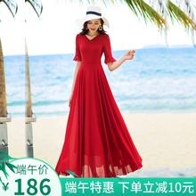 香衣丽an2020夏et五分袖长式大摆雪纺旅游度假沙滩长裙