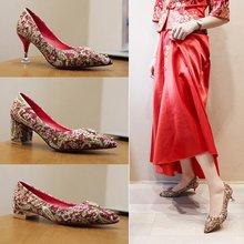 秀禾鞋an式细跟结婚et020新式百搭平底绣花粗跟红色新娘鞋孕妇
