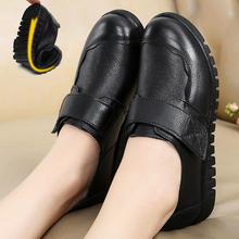 妈妈鞋an皮单鞋软底la的女皮鞋平底防滑奶奶鞋春秋加绒
