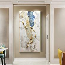 手绘油an玄关竖款装la代欧式客厅过道背景立体抽象招财九鱼图