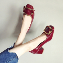 鞋遇女an2020新ae单鞋韩款百搭漆皮方头网红色婚鞋粗跟高跟鞋