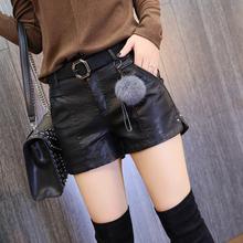 皮裤女an020冬季os款高腰显瘦开叉铆钉pu皮裤皮短裤靴裤潮短裤