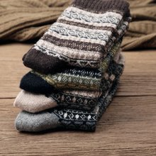 米吉诺拉an1秋冬新品os保暖羊毛袜子 复古加厚民族风中长筒袜