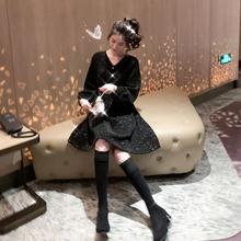 【宠粉式】大码黑色高腰显瘦亮丝赫本风名媛连衣裙