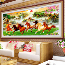 钻石贴十字绣客厅八骏图钻石画满钻20an150新式ec钻石绣八匹马