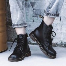 真皮1an60马丁靴ec风博士短靴潮ins酷秋冬加绒雪地靴靴子六孔