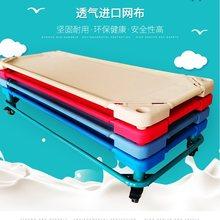 幼儿园an用床单的午ny童午休床托管网布床叠叠(小)床环保塑料床