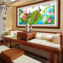 花开富an孔雀电脑机ho的手工客厅大幅牡丹荷花挂画