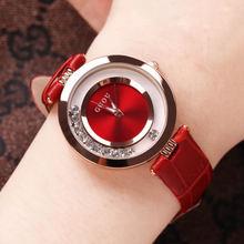 【新式an香港古欧时ia动女士手表镶钻红色绿皮带防水时装女表