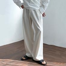 MRCanC夏季薄式is直筒裤韩款棉麻休闲长裤垂感阔腿裤