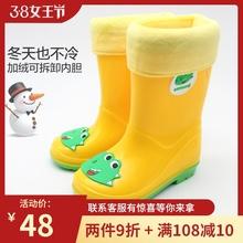 户外游an便舒适新式on宝胶鞋雨靴时尚女童水鞋中筒