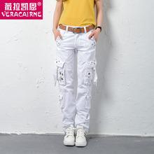 薇拉凯an全棉夏季新wo户外休闲多口袋工装裤宽松大码运动裤潮