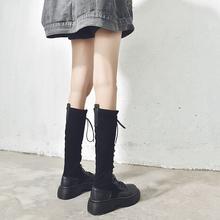 高筒靴女过ap长筒马丁靴la伦风2020新款百搭骑士靴网红瘦瘦靴
