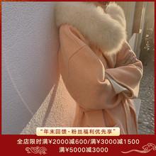 ZHUapIYI橘粉33毛领高端双面羊绒大衣女2020秋冬连帽毛呢外套