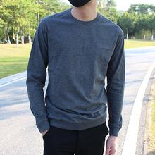 简约纯ap纯棉磨毛(小)33式圆领长袖打底衫修身t恤四季上衣