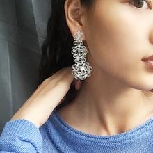 [apote]手工编织透明串珠水晶耳环