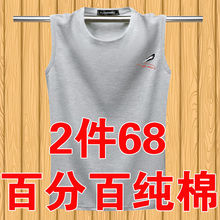 夏季男ap纯棉无袖Tef大码健身运动胖子打底衣服潮流坎肩背心