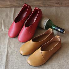 阿奈诗ap式森系真皮ef艺女鞋原创手工鞋平底浅口大码舒适单鞋