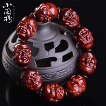 印度赞ap亚(小)叶紫檀im八罗汉手链精细雕刻男女血檀佛珠老料