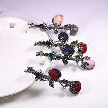 [aqoc]韩版女士复古花朵顶夹水钻发夹韩国