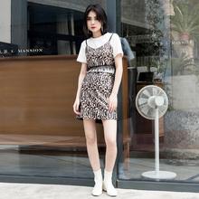 Leeaqonsanpo19夏季新品豹纹短式吊带性感女1329002