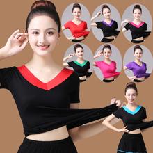 中老年aq场女V领上po莫代尔T恤跳舞衣服舞蹈短袖练功服