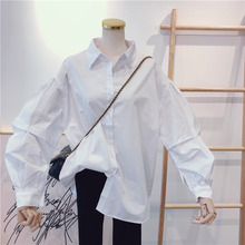 202aq春秋季新式an搭纯色宽松时尚泡泡袖抽褶白色衬衫女衬衣