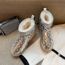 雪地靴女皮aq2一体20an冬季时尚铆钉亮面防水防滑加绒保暖棉鞋