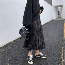 A7saqven半身es长式秋韩款褶皱黑色高腰显瘦休闲学生百搭裙子