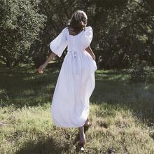 法式复ar超仙高腰白st收腰显瘦亚麻灯笼袖智熏桔梗度假连衣裙