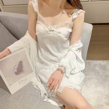 夏季睡ar女唯美韩款hu裙睡袍带胸垫春秋蕾丝性感冰丝薄式套装