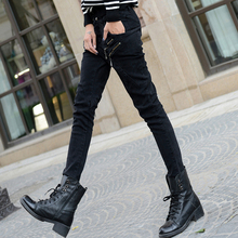 黑色字ar印花牛仔裤no(小)脚瘦腿裤子非主流显瘦(小)哈伦香蕉裤子