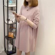 春装上ar韩款宽松高ri裙中长式打底衫T长袖孕妇连衣裙
